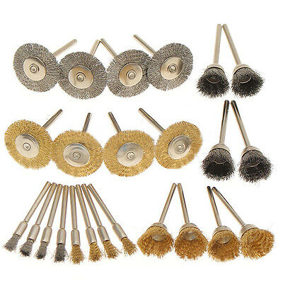 24Pcs Rotary Tools Steel Wire Wheel Brushes Cup Rust Set For Accessories