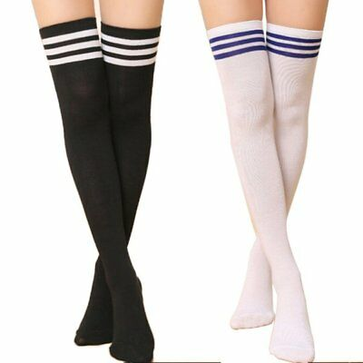 Lady Women Knitted Striped Socks Striped Over Knee Thigh High Stockings Legging