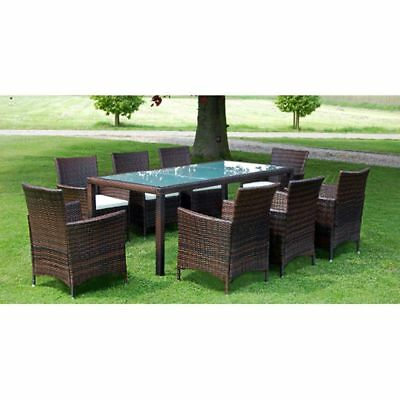 17 Piece Outdoor Garden Furniture Set Table Chairs Seat Cushions Poly Rattan