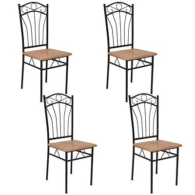 4 Dining Chairs Steel Frame Modern Home Kitchen Living Room Furniture Brown Seat