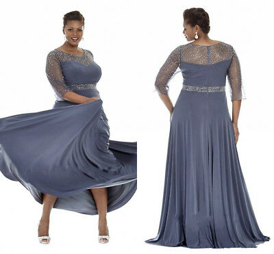 GRAY PLUS SIZE Special Occasion Dresses Mother of the Bride Evening Gowns  HD251