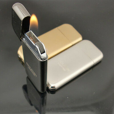 Slim Refillable Flint Butane Gas Windproof Jet Flame Cigarette Lighter