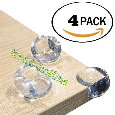 4x Round Clear Corner Protectors Cushions For Glass Table Shelves Baby Kids Safe