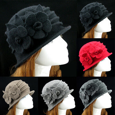 Women Floral 1930s 1920s Winter Wool Cap Beret Beanie Cloche Bucket Hat Cute AU