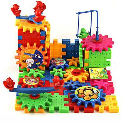 81X Funny Bricks Moving Gear Playground Educational Building Block Toy DIY Gift