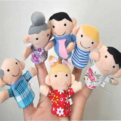 New 6PCS Kids Plush Cloth Play Game Learn Story Family Finger Puppets Toys UO