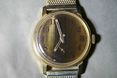 LUCH Vintage Mens Gold Plated Watch w/NOS BEST QUALITY GP STRAP, running.