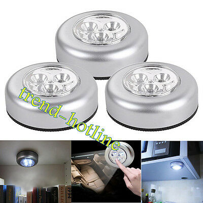 3x LED Touch Operated Battery Stick Wall Lamp Under Cabinet Cupboard Night Light