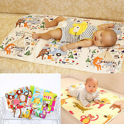 Soft Baby Infant Waterproof Cotton Cartoon Urine Mat Cover Burp Change Pad 60*90