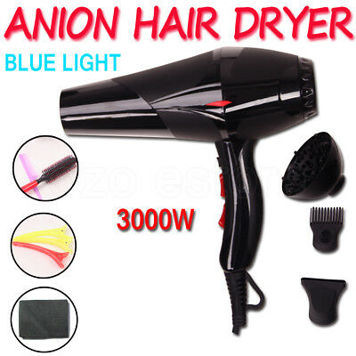 3000W Anion Hair Dryer Blue Light High-power Professional Salon & Home Black NEW