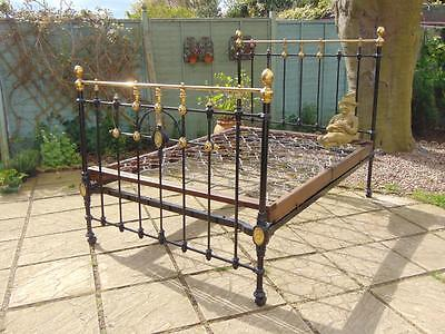 Victorian Cast and Brass Double Bed