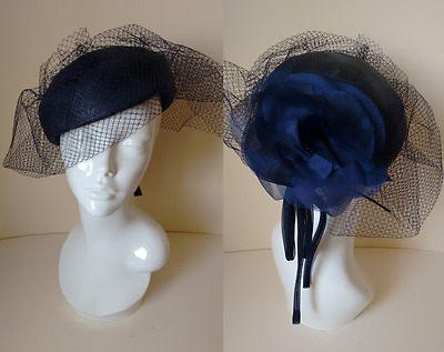 Vintage 70's Navy Blue Cocktail Pillbox Wedding Ascot Hat with Veil and Flower