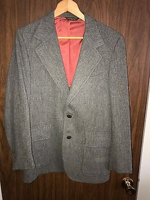100% Wool 36 Mens Blazer Suit Jacket Gray Vintage Tailored by Palm Harbor