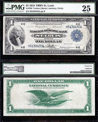 VERY NICE Bold & Crisp VF 1918 *ST LOUIS* $1 GREEN EAGLE FRBN! PMG 25! H5438430A
