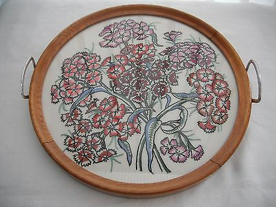 Vintage oak wood round tray with hand embroidered floral base under glass