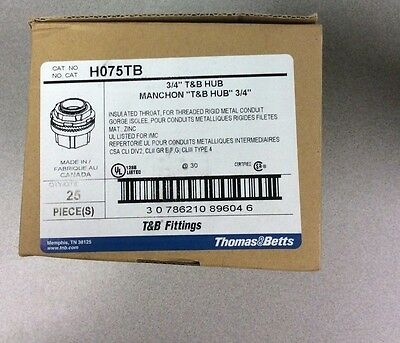 Thomas & Betts Fitting H075TB Insulated Hub Connector 3/4 inch - New Box of 25