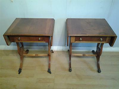 Pair of Regency style yew wood lyre end coffee side sofa tables