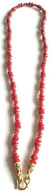 Thai Amulets Red Crystal Bead Necklace Vintage Gemstone Handmade 22 Inch Hook Pl
