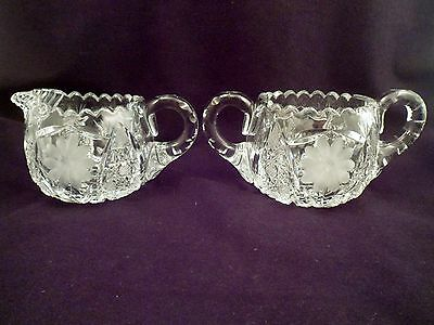 American Brilliant Period Cut Crystal Creamer and Sugar Set, Antique Glass