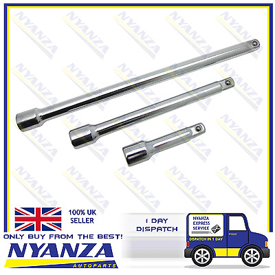 "3 Piece 3/8"" Drive Extension Extention Bar Set Fully Polished Lengths 3"", 6"", 9"""