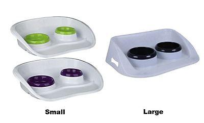 Double Pet Feeding/Water Bowls & Tray Dog Cat Non Slip Feeding Station