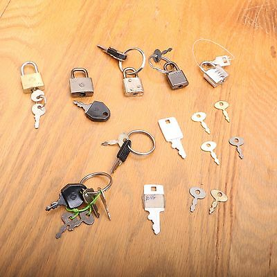 Lot of Small Mini Padlock Jewelry Box Secret Diary Lock Key Luggage Mailbox VTG