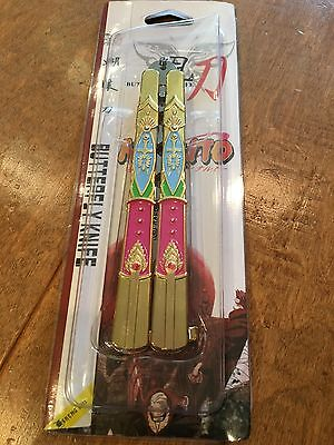 NARUTO Gold Intricate Detail Butterfly Knife, New in box