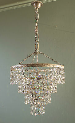 Silver Gilt French Vintage Chic Lead Crystal Waterfall Chandelier Lighting