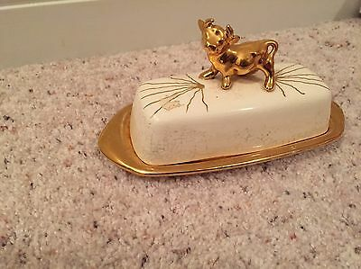 Vtg Antique Rare Gold Cow Butter Dish Signed A.K. Dairy Farm Pottery Ceramic