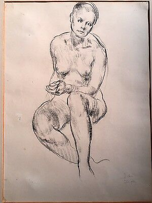 Vintage Art Nude Female 'Life Study' Signed By John Dyke Of Malvern In Charcoal