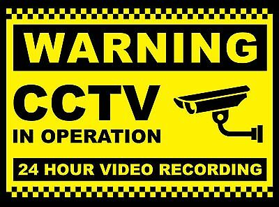 2X CCTV in Operation Sign 24 Hr Recording Security Camera Plastic Sign, Sticker