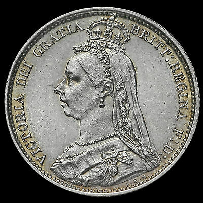 1887 Victoria Jubilee Head Silver Sixpence, R over I (R/I), Very Rare, GEF #2