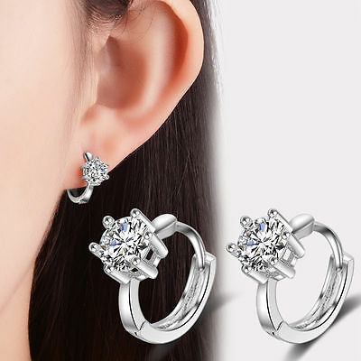 Women Lady Elegant 925 Sterling Silver Zircon Ear Hoop Earrings Party Jewelry