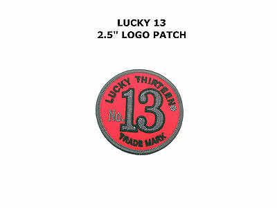 lucky 13 patch badge black white hot rod skull tattoo rockabilly motorcycle