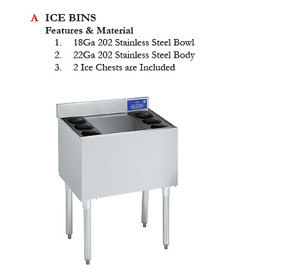 Stainless Steel  Under bar ice bin without ice plate 32 3/4' H