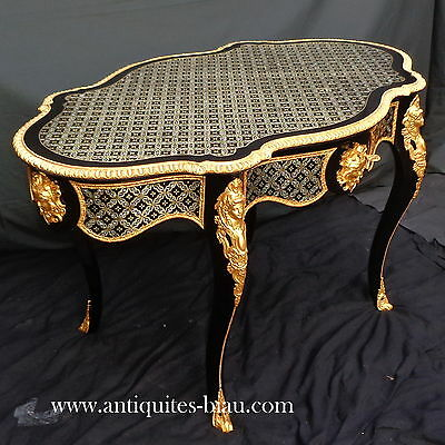 Antiques French Table in marquetry Boulle 19th Napoléon III period - Perfect