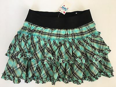 NWT Justice Girls Size 10 Plaid Ruffle Skort Skirt Peppermint Green/Black/Silver
