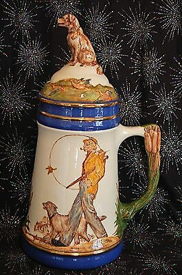 """Norman Rockwell Embossed Stein With Hunting Dog Top 15"""" High 1982 Eclectic Cool"""