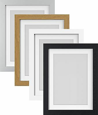 White Black Oak Silver Large Photo Picture Frame Poster Frames with White Mount