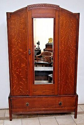 Gorgeous Tiger Oak Art Deco Armoire Wardrobe Closet Beveled Mirror Bottom drawer