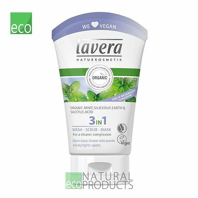 Lavera 3 in 1 Organic Face Wash, Scrub and Mask 125ml