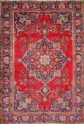 """CLEARANCE Red 6X9 Mashad Persian Area Rug Wool Oriental Carpet 9' 5"""" x 6' 5"""""""