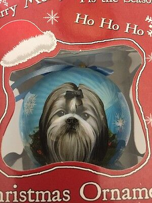 Ship-tzu Black & White Dog Ball Christmas Ornament New