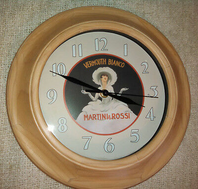 Martini & Rossi Vermouth Bianco Wall Clock Solid Wood Frame Excellent Condition
