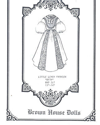 "Little Women Doll Pattern ""Beth"" 13""-14"" BHD 267"