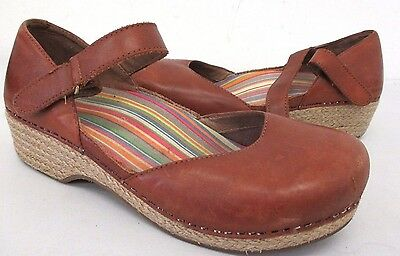 Dansko Women's Mary Jane Leather Clogs Shoes Size: 39 Color: Brown