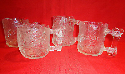 Set of 4 McDonald's Flintstone Etched Glass Collectible Coffee Mugs