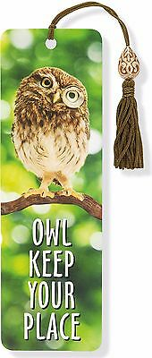 Owl Keep Your Place Beaded Funny Reading Bookmark  Fun Cheap Gift Books Book