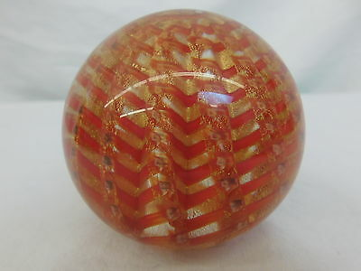 Red Gold Fleck Art Glass Paperweight Artisan Made Pulled Feather Design 3.25""