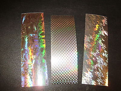 "2"" x 6"" 10 PACK SUPER HOLOGRAPHIC SILVER Fishing Lure Tapes in 3 Patterns"